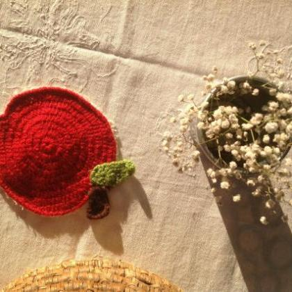 Knitted Apples crochet coasters Vin..
