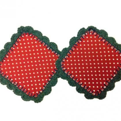 Red Polka Dot Fabric and crochet co..