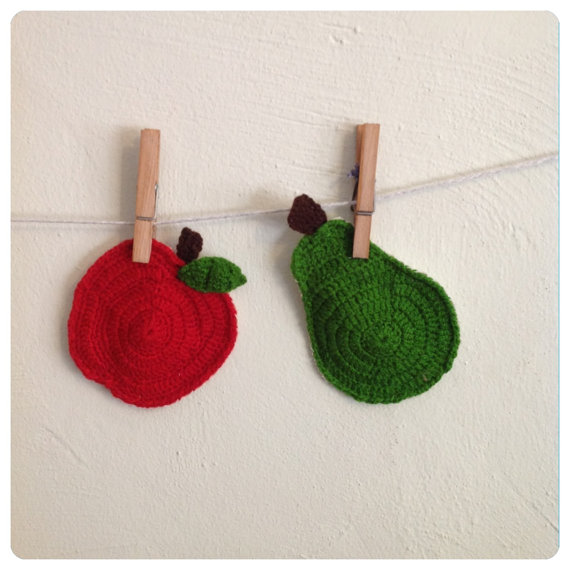 Knitted Apple & Pear coasters Vintage Style Knitted mugrugs ( set of two ) Retro