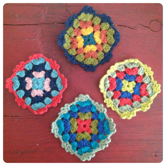 Rainbow Granny Crochet Vintage Style Knitted coasters set of four Retro Kitchen