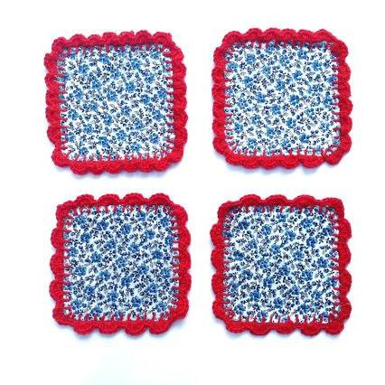 vintage Floral Fabric and crochet coasters (set of 4) Mug Rugs Coffee table savers gift for coffee / tea lovers