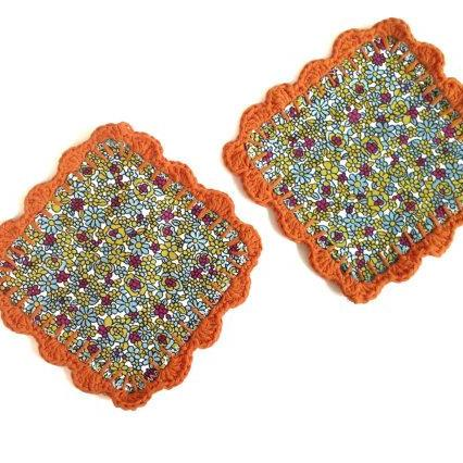 Granny Fabric and crochet coasters orange (set of 2) Mug Rugs - Coffee table savers gift for coffee / tea lovers