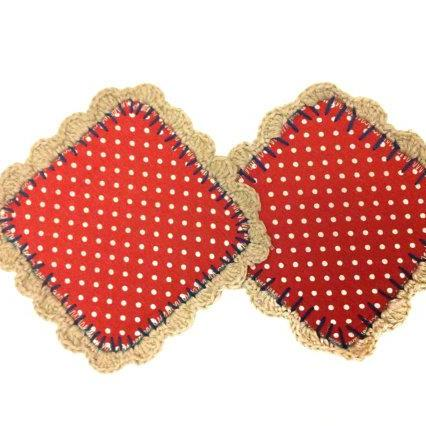 Red Polka Dot Fabric and crochet coasters (set of 2) Mug Rugs - Coffee table savers gift for coffee / tea lovers