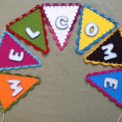 Baby Shower Welcome Sign Banner Bunting with felt flags / handmade felt banner
