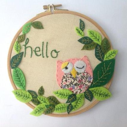 Felt Pink owl in wooden frame nursery decor, Embroidery Hoop art