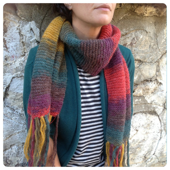 Rainbow Scarf, Autumn Fashion Wrap, Crochet Scarf, Vintage Clothing Style nomad